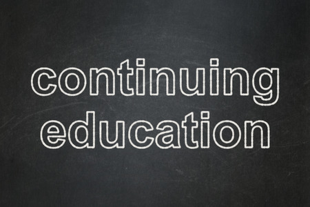 continuing education: Education concept: text Continuing Education on Black chalkboard background, 3d render