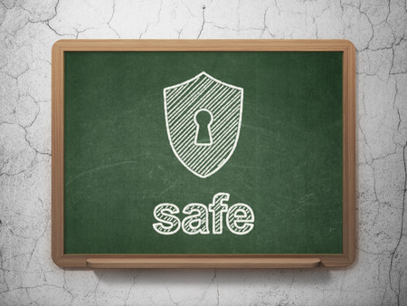 Privacy concept: Shield With Keyhole icon and text Safe on Green chalkboard on grunge wall background, 3d render photo