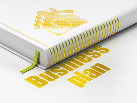 buisnes: Business concept: closed book with Gold Home icon and text Business Plan on floor, white background, 3d render