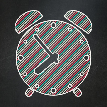 Timeline concept: Alarm Clock icon on Black chalkboard background, 3d render photo