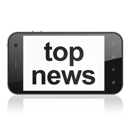 News concept: smartphone with text Top News on display. Mobile smart phone on White background, cell phone 3d render photo