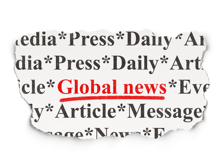 News concept: torn newspaper with words Global News on Paper background, 3d render photo