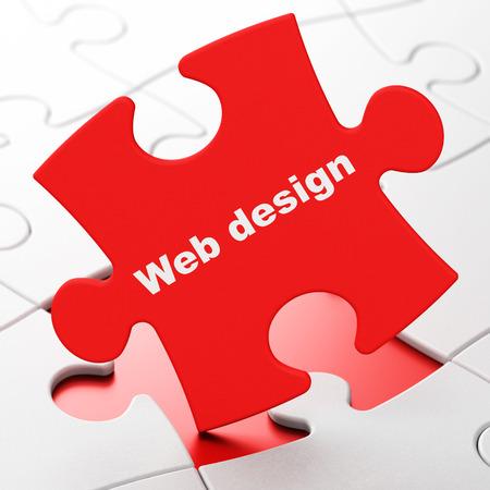 Web development concept: Web Design on Red puzzle pieces background, 3d render photo