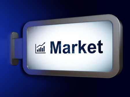 Finance concept: Market and Growth Graph on advertising billboard background, 3d render photo