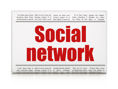 Social media concept: newspaper headline Social Network on White background, 3d render photo