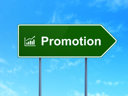 Advertising concept: Promotion and Growth Graph icon on green road (highway) sign, clear blue sky background, 3d render photo