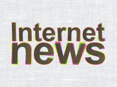 News concept: CMYK Internet News on linen fabric texture background, 3d render photo