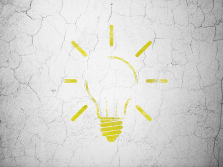 Business concept: Yellow Light Bulb on textured concrete wall background, 3d render photo