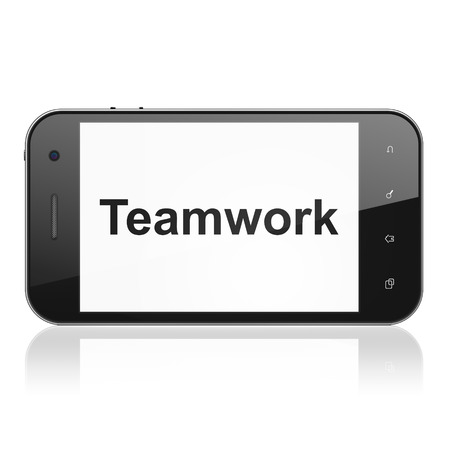 Business concept: smartphone with text Teamwork on display. Mobile smart phone on White background, cell phone 3d render photo