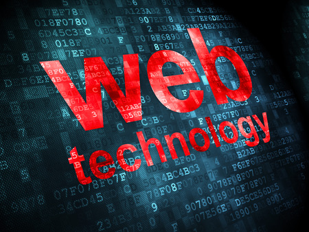 web technology: SEO web development concept: pixelated words Web Technology on digital background, 3d render Stock Photo