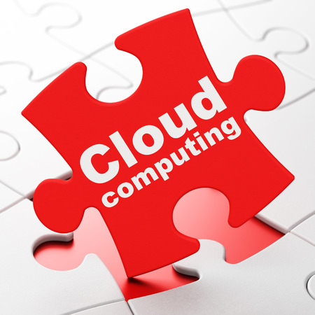 Cloud technology concept: Cloud Computing on Red puzzle pieces background, 3d render photo