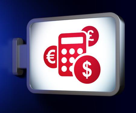 News concept: Calculator on advertising billboard background, 3d render photo