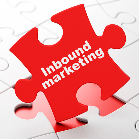 inbound: Finance concept: Inbound Marketing on Red puzzle pieces background, 3d render