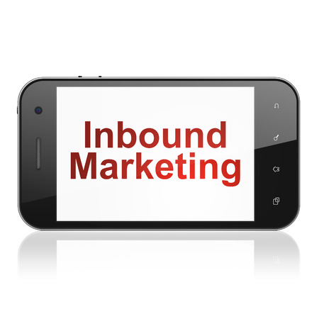 Finance concept: smartphone with text Inbound Marketing on display. Mobile smart phone on White background, cell phone 3d render photo