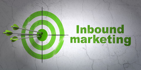 Success business concept: arrows hitting the center of target, Green Inbound Marketing on wall background, 3d render photo