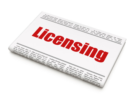 licensing: Law concept: newspaper headline Licensing on White background, 3d render Stock Photo