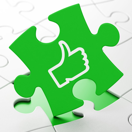 Social network concept: Thumb Up on Green puzzle pieces background, 3d render photo