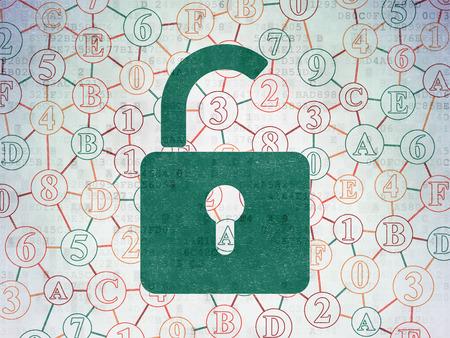 privacidad: Información concepto: Pintadas icono de candado abierto verde sobre fondo de papel digital con el Esquema de código hexadecimal, 3d