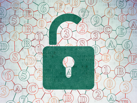 to privacy: Information concept: Painted green Opened Padlock icon on Digital Paper background with Scheme Of Hexadecimal Code, 3d render