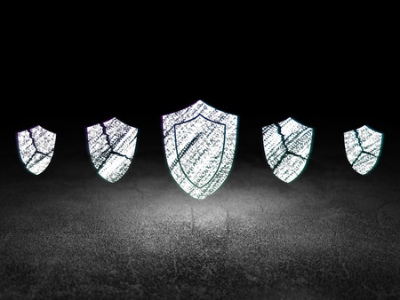 dirty room: Safety concept: row of Glowing broken shield icons around shield icon in grunge dark room Dirty Floor, dark background, 3d render Stock Photo