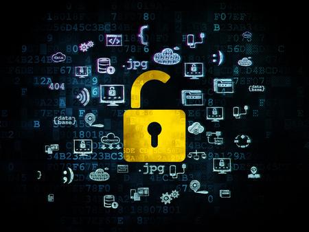 privacidad: Concepto de protección: Pixelated icono de candado abierto amarillo sobre fondo digital con mano iconos Programación Dibujado, 3d Foto de archivo