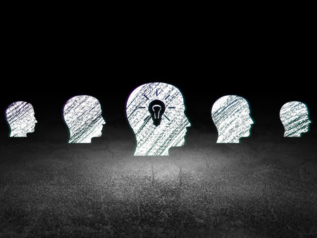 buisnes: Business concept: row of Glowing head icons around head with light bulb icon in grunge dark room Dirty Floor, dark background, 3d render Stock Photo