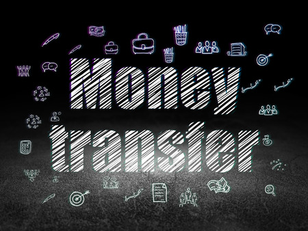 Finance concept: Glowing text Money Transfer,  Hand Drawn Business Icons in grunge dark room with Dirty Floor, black background, 3d render Stock Photo