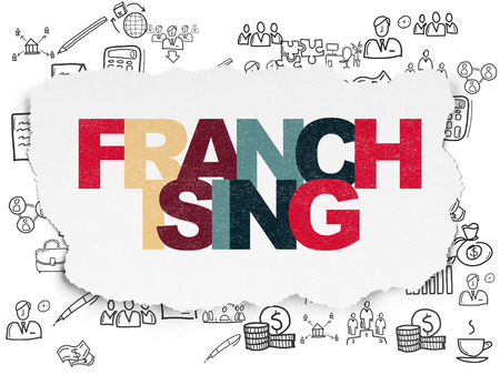 franchising: Business concept: Painted multicolor text Franchising on Torn Paper background with  Hand Drawn Business Icons, 3d render