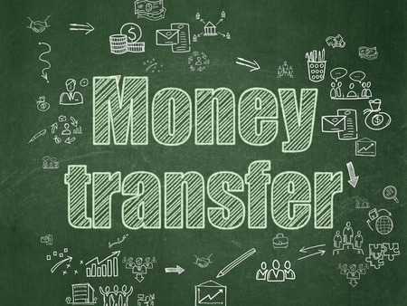Finance concept: Chalk Green text Money Transfer on School Board background with Scheme Of Hand Drawn Business Icons, 3d render photo