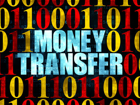 Finance concept: Pixelated blue text Money Transfer on Digital wall background with Binary Code, 3d render photo