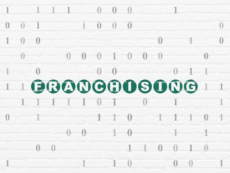 franchising: Finance concept: Painted green text Franchising on White Brick wall background with Binary Code, 3d render Stock Photo