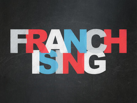 franchising: Finance concept: Painted multicolor text Franchising on School Board background with  , 3d render