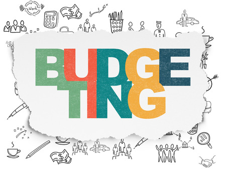 budgeting: Business concept: Painted multicolor text Budgeting on Torn Paper background with  Hand Drawn Business Icons, 3d render