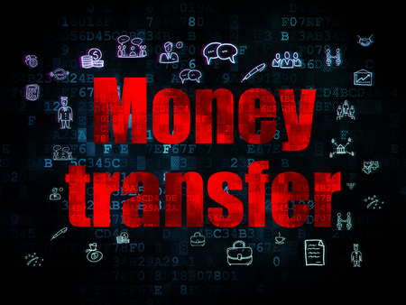 Finance concept: Pixelated red text Money Transfer on Digital background with  Hand Drawn Business Icons, 3d render photo