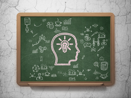 Finance concept: Chalk Pink Head With Lightbulb icon on School Board background with Scheme Of Hand Drawn Business Icons, 3d render photo