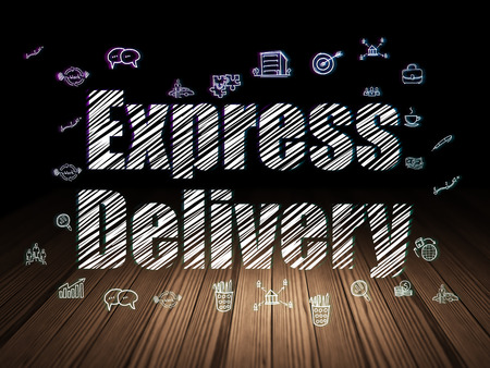 delivery room: Finance concept: Glowing text Express Delivery,  Hand Drawn Business Icons in grunge dark room with Wooden Floor, black background, 3d render