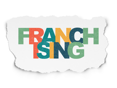 franchising: Finance concept: Painted multicolor text Franchising on Torn Paper background with  , 3d render Stock Photo