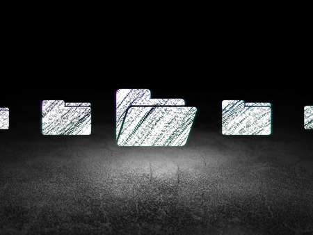 dirty bussines: Business concept: row of Glowing folder icons around folder icon in grunge dark room Dirty Floor, dark background, 3d render Stock Photo