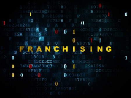 franchising: Finance concept: Pixelated yellow text Franchising on Digital wall background with Binary Code, 3d render