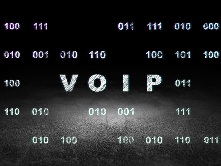 dirty room: Web design concept: Glowing VOIP icon in grunge dark room with Dirty Floor, black background with Binary Code, 3d render