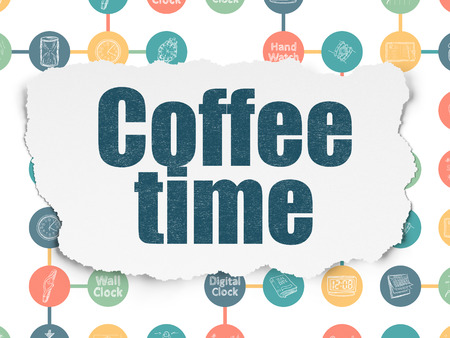 Timeline concept: Painted blue text Coffee Time on Torn Paper background with Scheme Of Hand Drawing Time Icons, 3d render photo