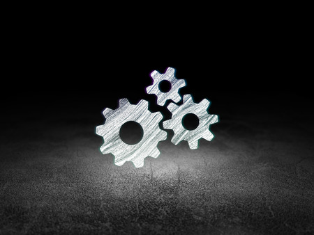 dirty room: Advertising concept: Glowing Gears icon in grunge dark room with Dirty Floor, black background, 3d render