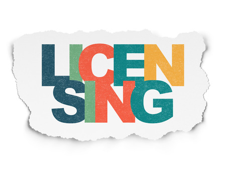 licensing: Law concept: Painted multicolor text Licensing on Torn Paper background with  , 3d render