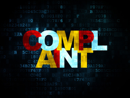 complaint: Law concept: Pixelated multicolor text Complaint on Digital background with  , 3d render