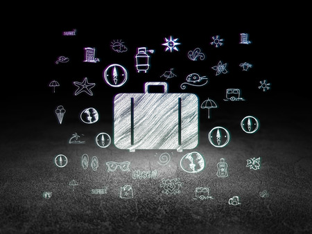 dirty room: Travel concept: Glowing Bag icon in grunge dark room with Dirty Floor, black background with  Hand Drawn Vacation Icons, 3d render Stock Photo