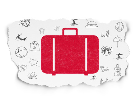 luggage pieces: Tourism concept: Painted red Bag icon on Torn Paper background with  Hand Drawn Vacation Icons, 3d render