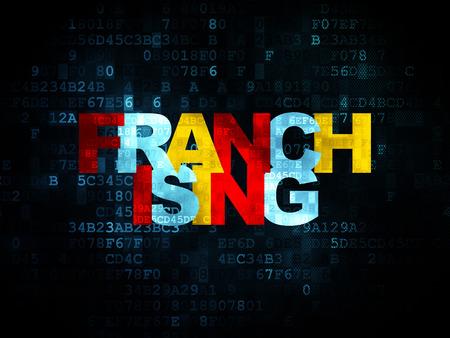 franchising: Finance concept: Pixelated multicolor text Franchising on Digital background, 3d render