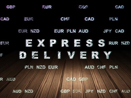 sala parto: Business concetto: il testo Glowing consegna espressa in grunge stanza buia con pavimento in legno, sfondo nero con valuta, rendering 3d