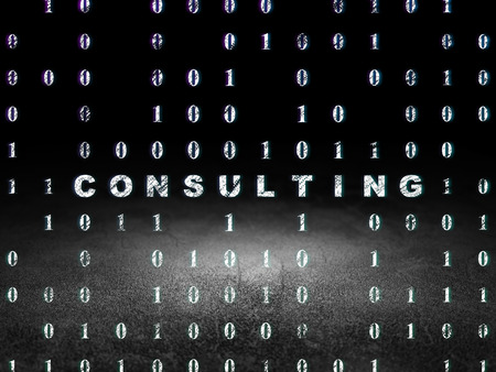 dirty bussines: Finance concept: Glowing text Consulting in grunge dark room with Dirty Floor, black background with Binary Code, 3d render
