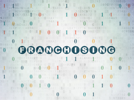 franchising: Finance concept: Painted blue text Franchising on Digital Paper background with Binary Code, 3d render Stock Photo